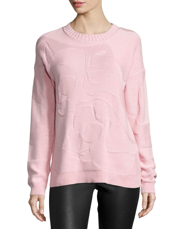 Mosaic Long-Sleeve Sweater, Blush Pink