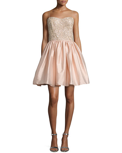 Embellished-Bodice Party Dress, Blush
