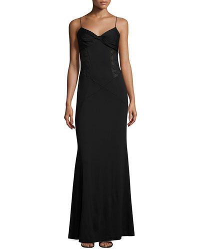 Femme Fatale Lace-Trim Gown, Black