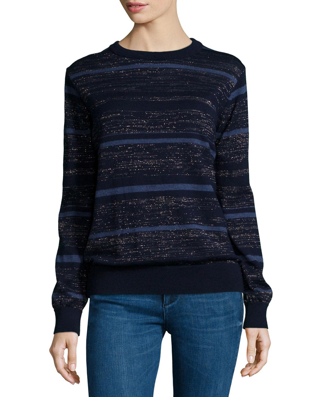 Falls Multi-Stripe Sweater, Blue Mix