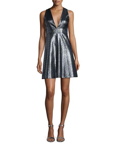 Metallic Jacquard V-Neck Fit & Flare Dress