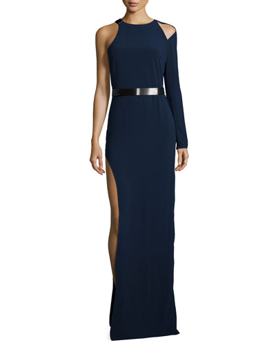 Belted One-Sleeve Gown, Navy