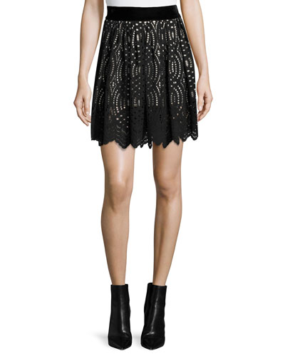 Lace Overlay Skirt, Black