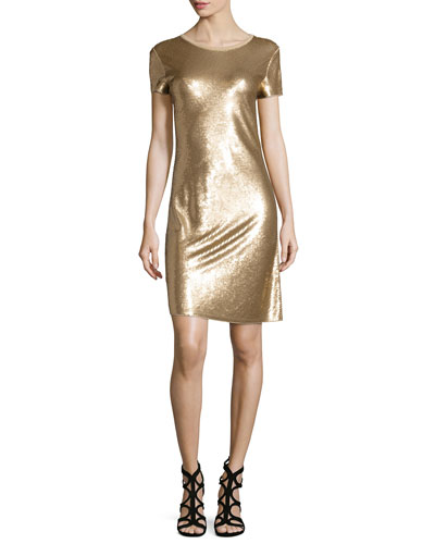 Short-Sleeve Diagonal Sequined Dress