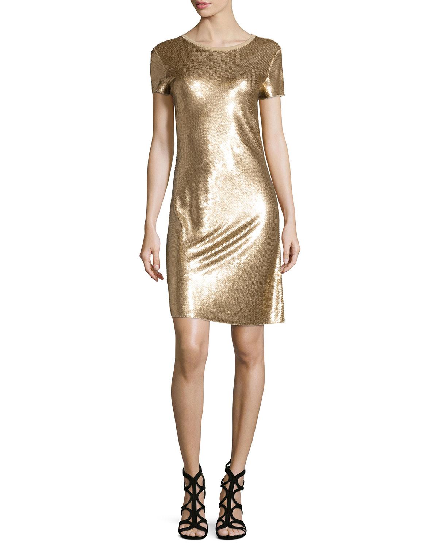 Short-Sleeve Diagonal Sequined Dress
