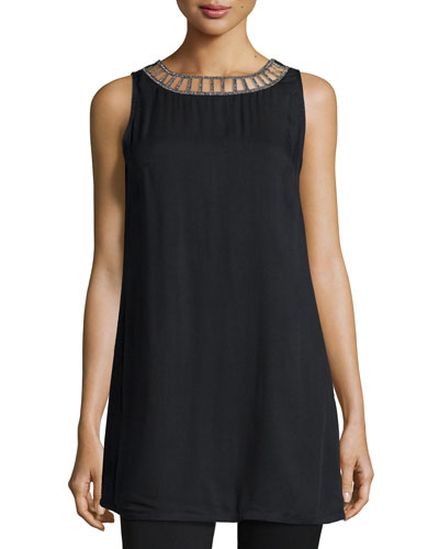 Allie Sleeveless Tank Mini Dress, Black