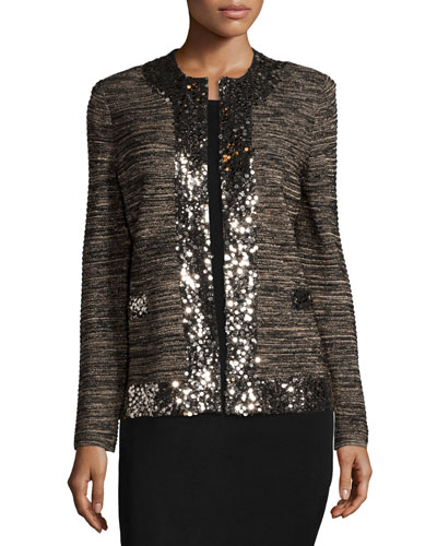 Sequin-Trim Metallic Jacket