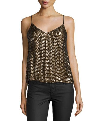 Simone Embellished Tank Top, Black