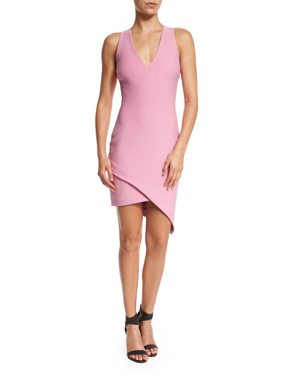 Rosa Sleeveless Faux-Wrap Dress, Raspberry Ice
