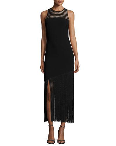 Diane Sleeveless Fringe Hem Dress