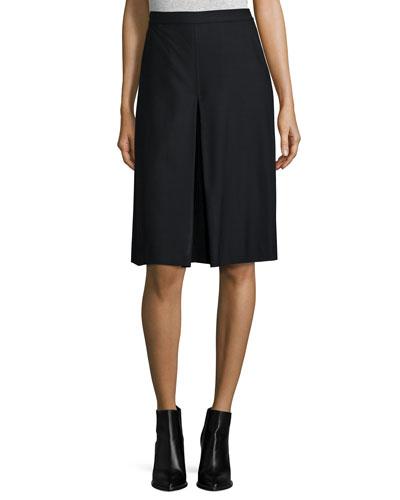Wool-Blend Pleated A-Line Skirt, Black