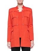Studded Long Jacket, Blood Orange, Plus Size