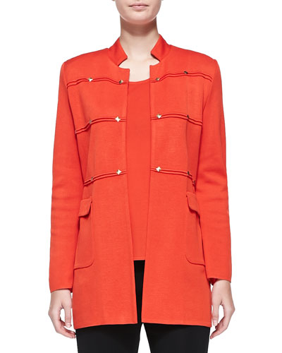 Studded Long Jacket, Blood Orange, Plus Size
