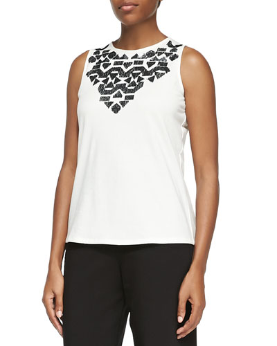Sequined Sleeveless Shell, Plus Size