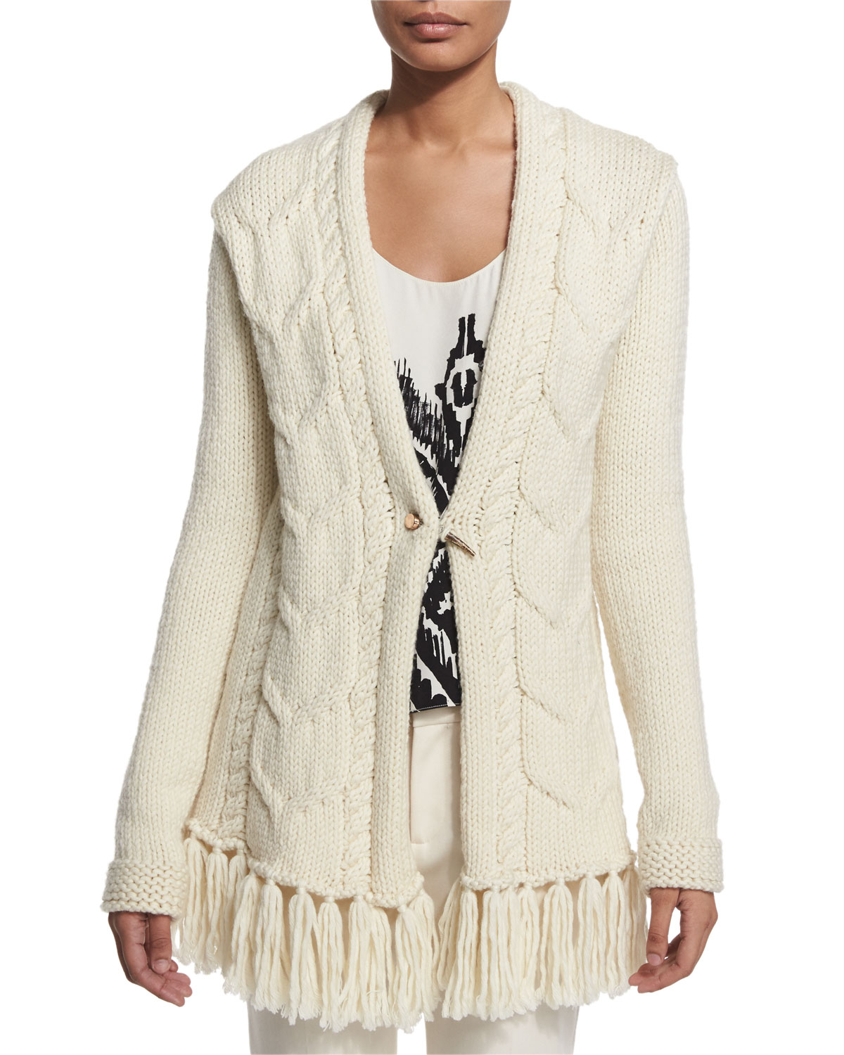 Cable-Knit Cardigan W/ Fringe Hem