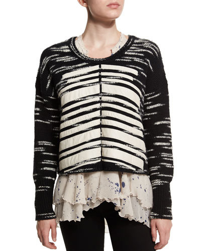 Boxy Leather Trim Sweater, Black/White
