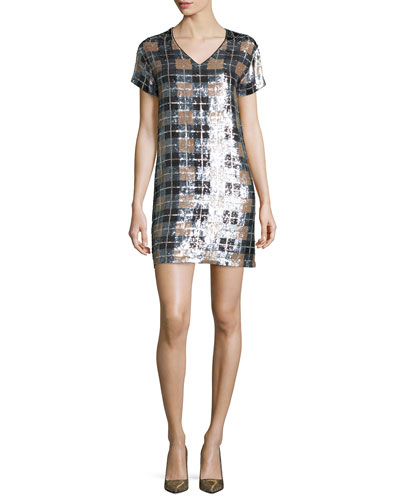 short-sleeve sequined plaid shift dress