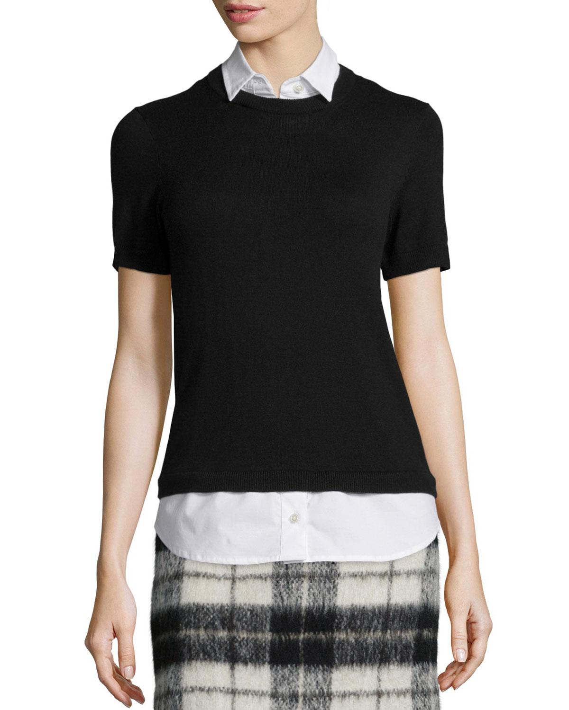 collared short-sleeve sweater