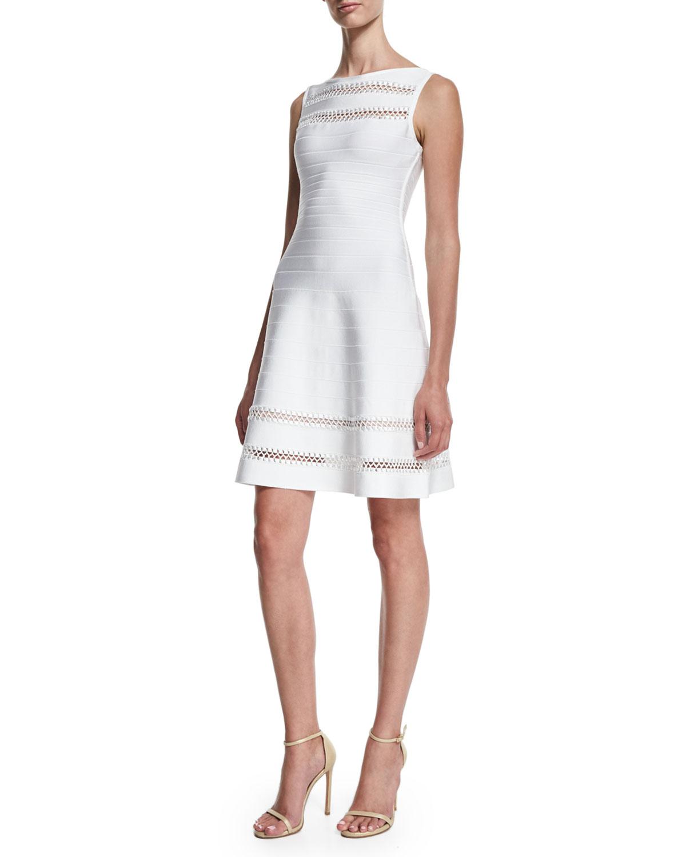 Sleeveless Bateau-Neck Crochet-Inset Dress, Alabaster