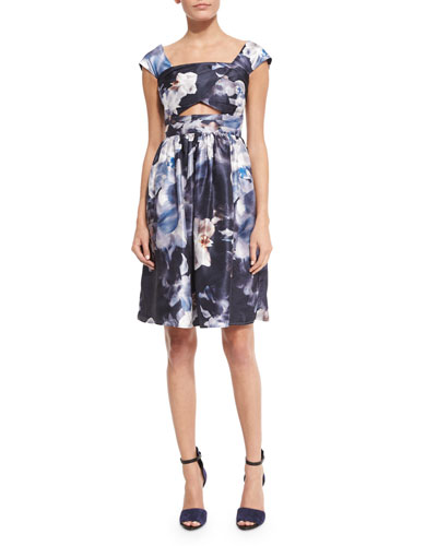 Confessions Cap-Sleeve Dress, Blurred Floral