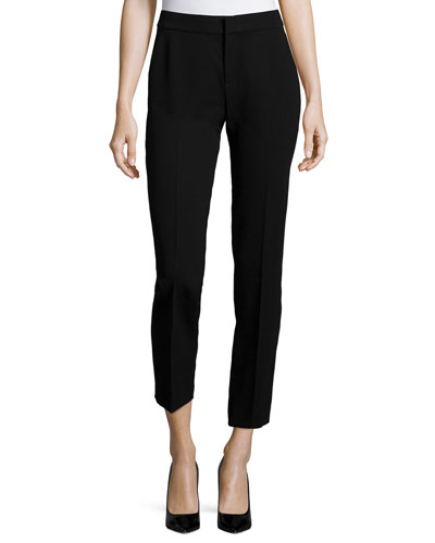 Slim Wool Ankle Pants, Black