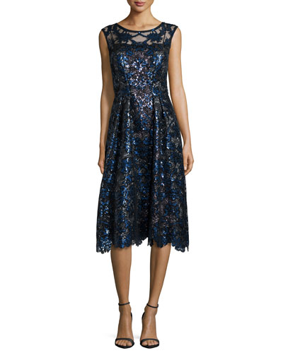 Sleeveless Sequined Fit-and-Flare Dress