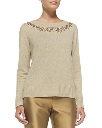 Metallic Sweater W/Sequined Trim, Gold