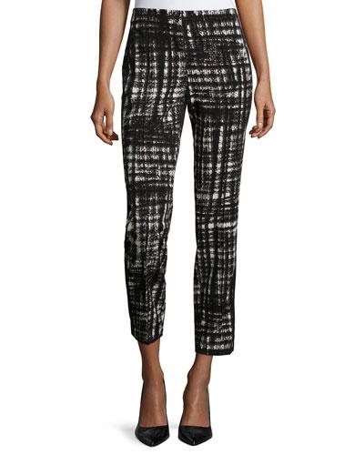 Slim-Leg Pants W/Side Stripe, Black Multi