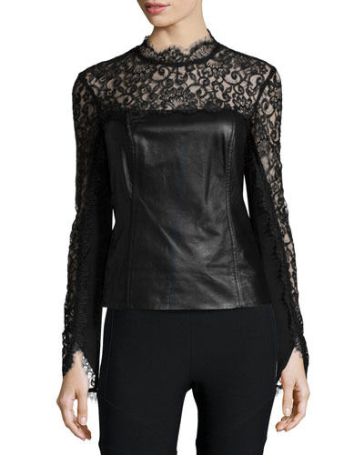 Long-Sleeve Mixed-Media Top
