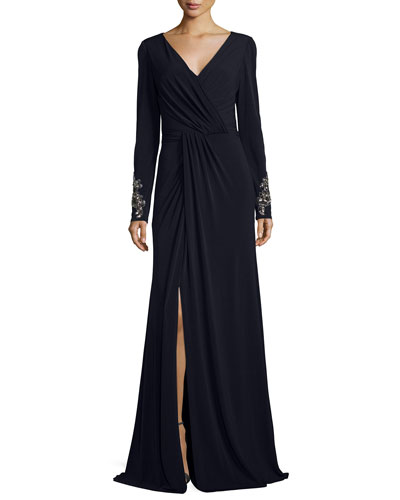 Beaded-Cuff Surplice Jersey Gown, Navy