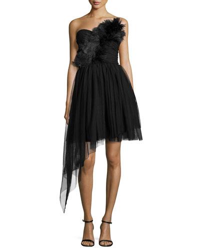 Strapless Tulle Dress, Black