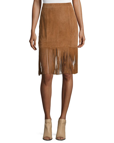 Suede Skirt W/Fringe Trim, Saddle