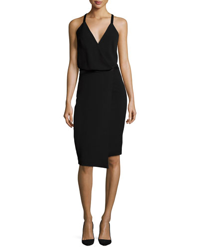 Sleeveless Faux-Wrap Dress
