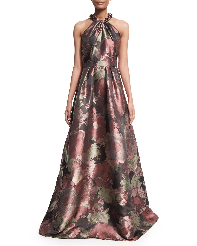 Sleeveless Crisscross Beaded-Neck Floral Ball Gown