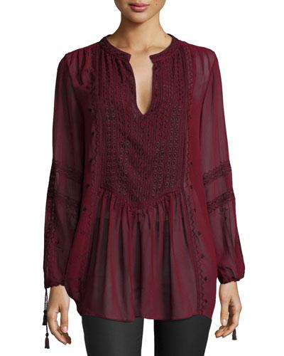 Zandy Long-Sleeve Tunic, Dark Garnet