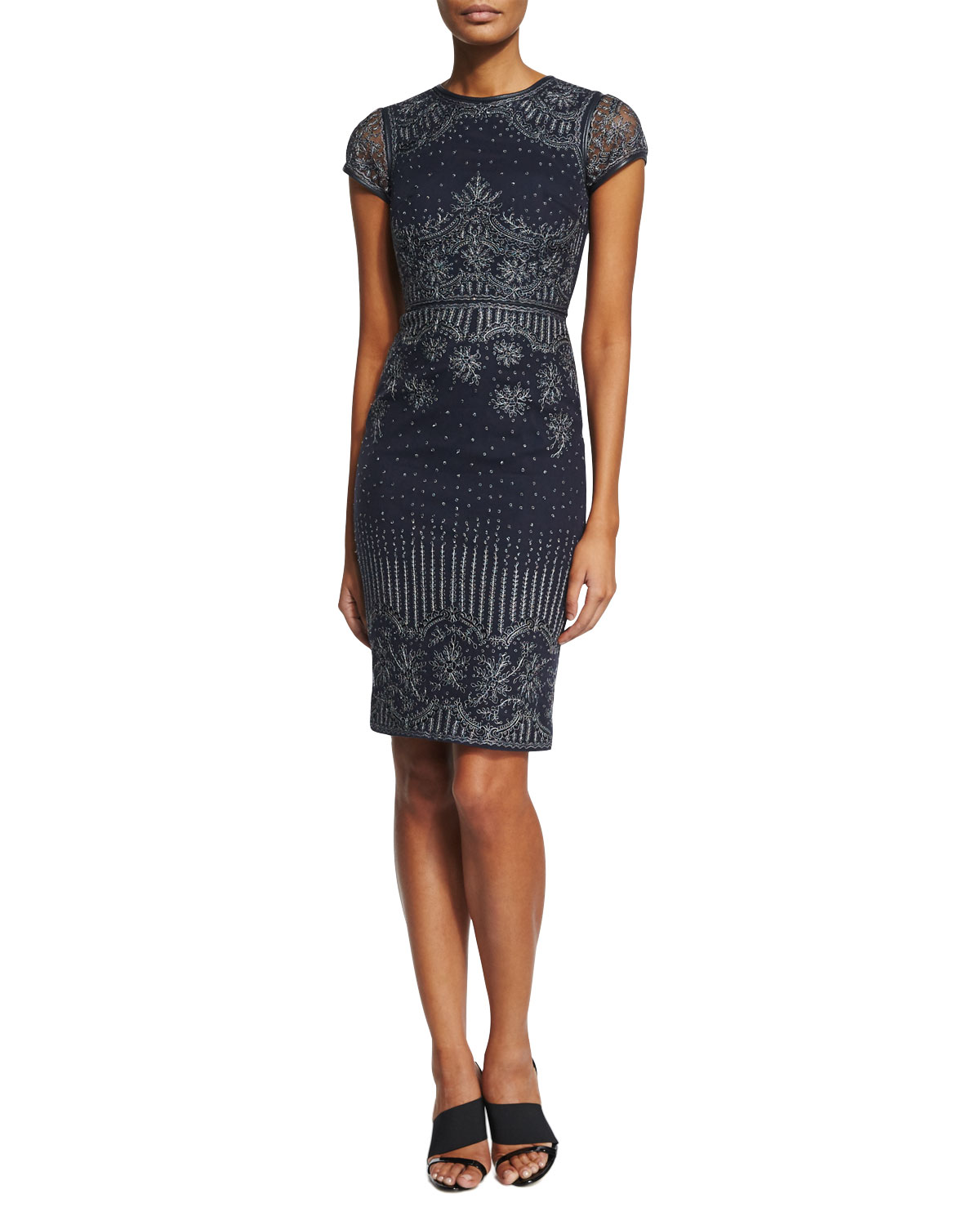 Carlotta Short-Sleeve Embroidered Cocktail Dress With Leather Trim