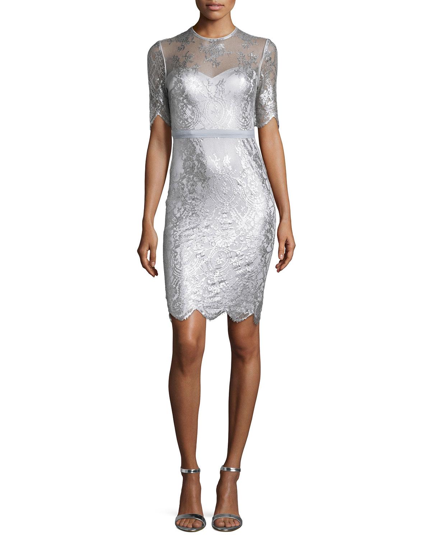 Cali Short-Sleeve Lace Sheath Dress
