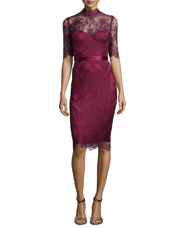Camilla High-Neck Lace Sheath Dress