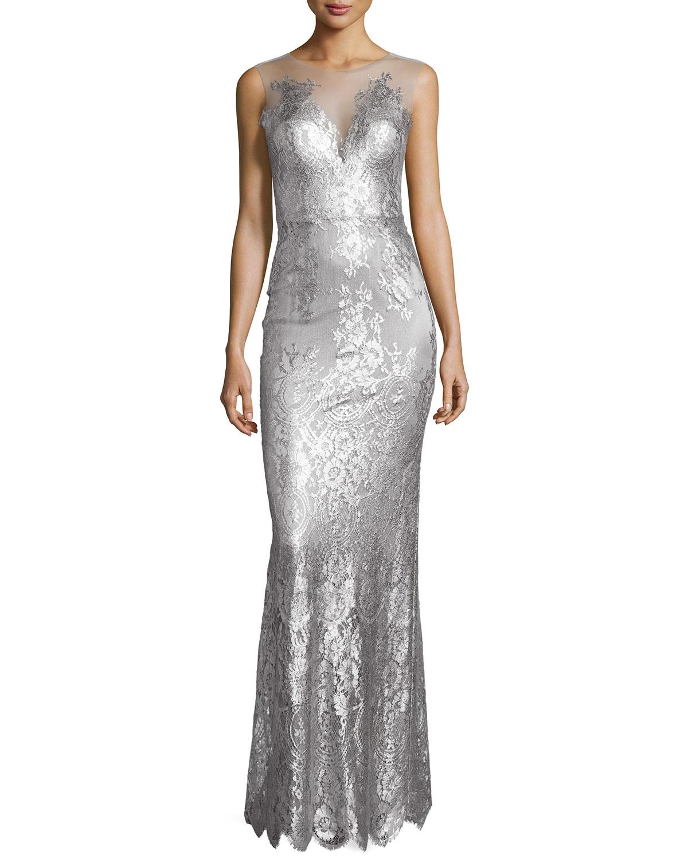 Chloe Sleeveless Metallic Lace Gown