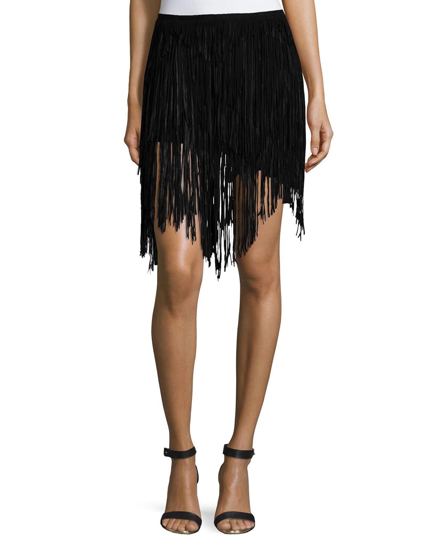 Asymmetric-Fringe Skirt, Black
