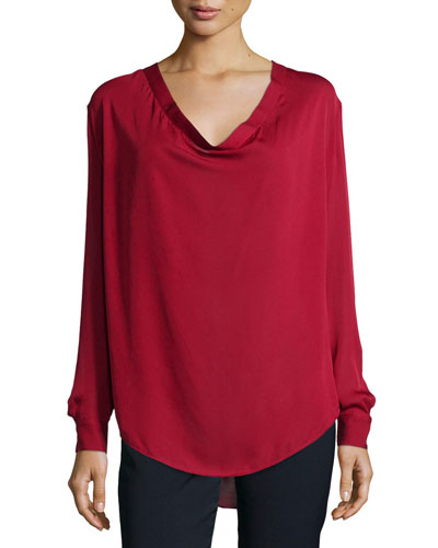 Return of the Cowl Long-Sleeve Blouse, Bordeaux