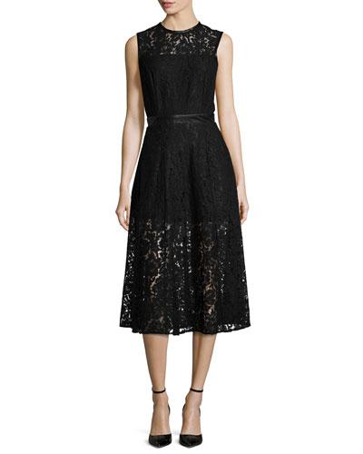 Coco Sleeveless Lace Dress, Black