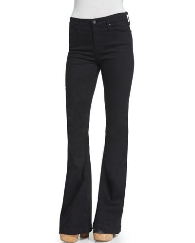 Janis High-Waist Super-Flare Jeans, Black