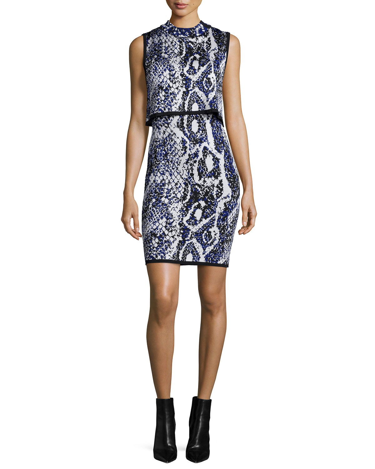 Spotlight Sleeveless Snake-Print Dress, Monarch Blue