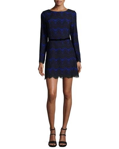 Linea Long-Sleeve Lace Dress, Prince Rocks/Black