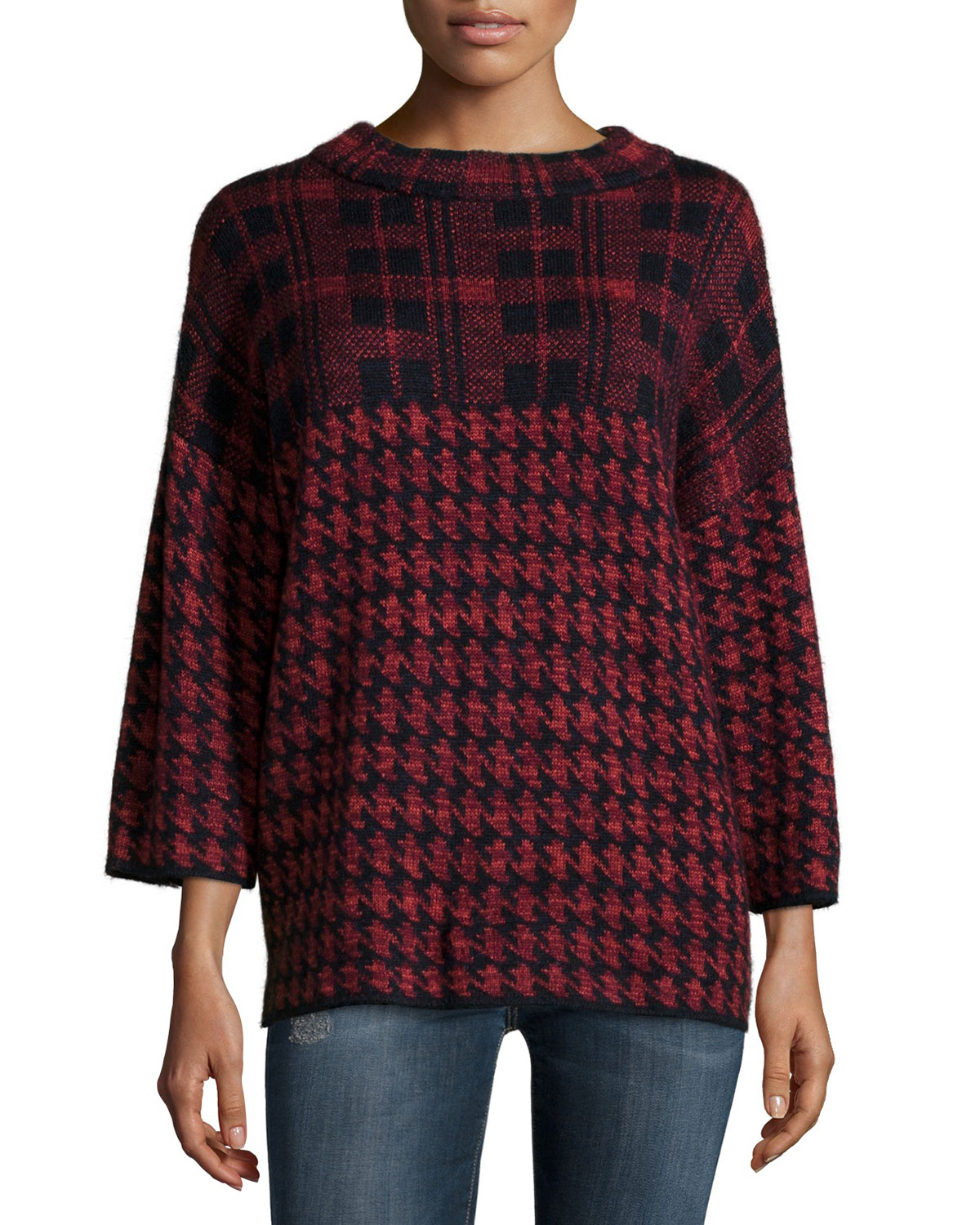 3/4-Sleeve Dogstooth-Check Sweater, Red