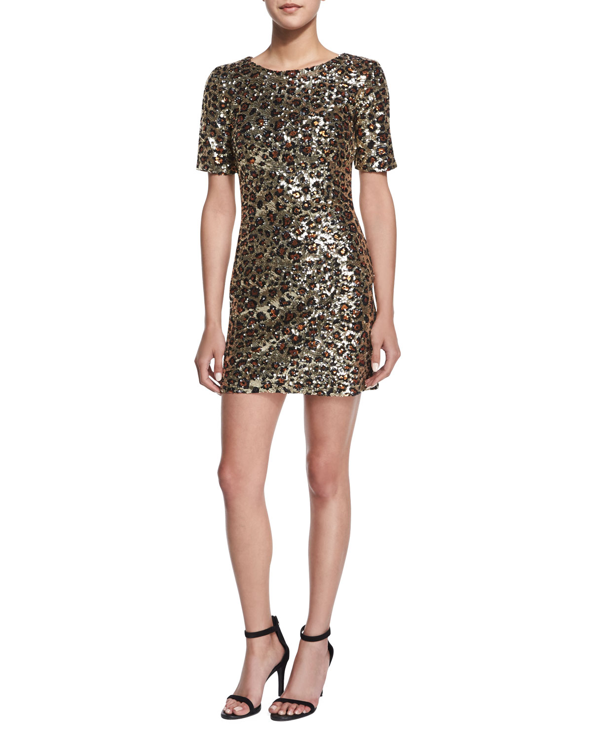 Leo Lux Embellished Mini Dress, Gold