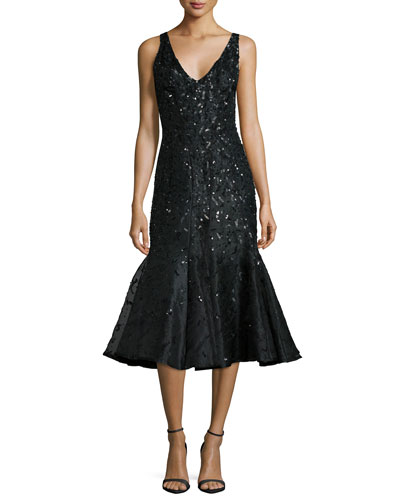 Acacia Embellished Fluted Dress, Black