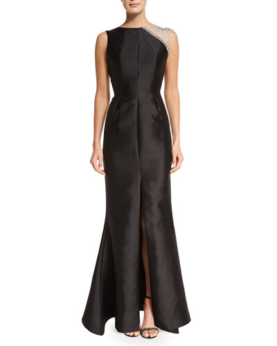 Tijana Embellished Mermaid Gown, Black