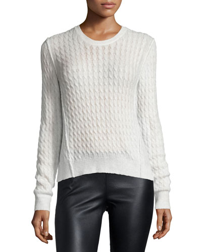 Cable-Knit Crewneck Sweater, Shell